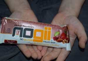 """NoGii Products - A Review  this is a NoGii """"Nuts About Berries"""" Paleo Bar Copyright Adrienne Z. Milligan"""