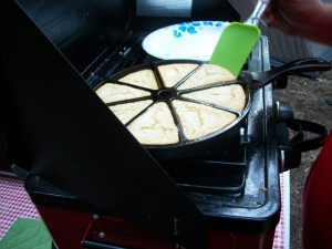 Gluten Free Cornbread while Camping - Cornbread in wedge pan - Copyright Adrienne Z. Milligan